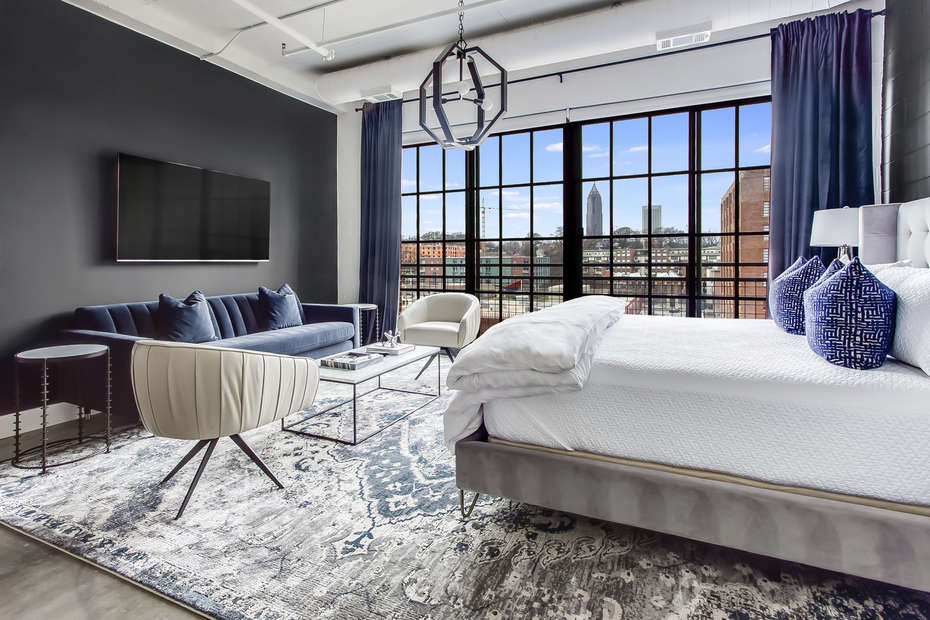Living and Sleeping area at Ponce City Market Apartment