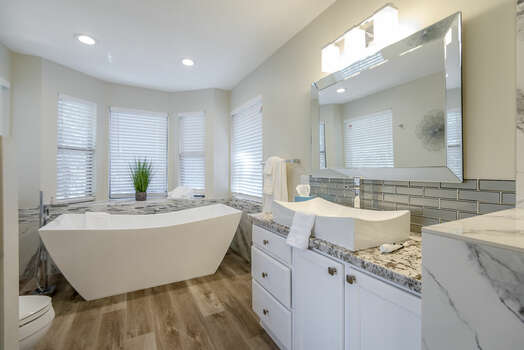 Large Soaking Tub and Plenty of Windows for Natural Light