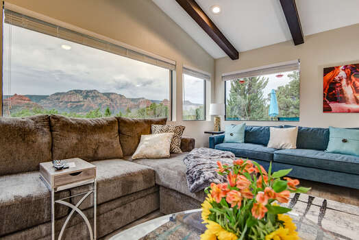 Spacious Living Room with a Large Sectional Sofa, a 2nd Sofa, and Big Picture Windows to Enjoy the Amazing Sedona Red Rock Views