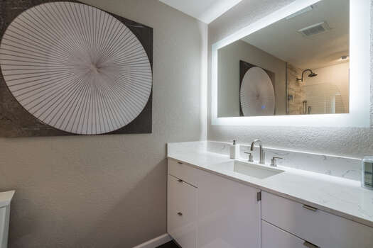 Full Shared Bath with Lighted Mirror