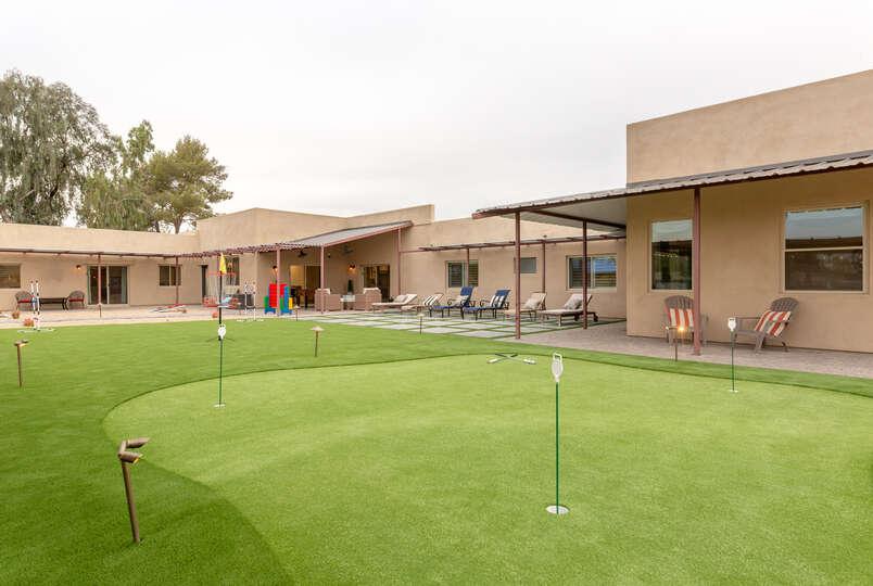 Nicely Manicured Lawn in Back of Luxury Rental in Scottsdale.