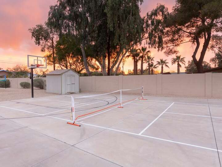 Image of Basketball and Tennis Court Attached to Luxury Rental in Scottsdale.
