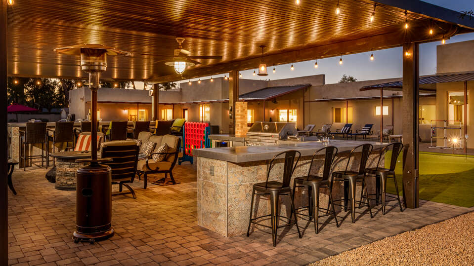 Covered Patio Offers Plenty of Seating and Counter Space.