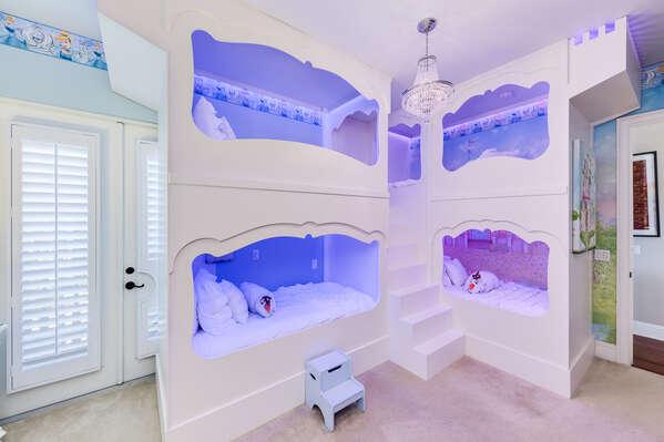 Custom princess twin over twin bunk beds and matching princess furniture
