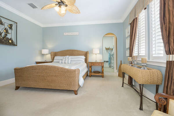 The 3rd master bedroom is also located on the first floor and has a luxurious king-sized bed and huge walk-in wardrobe