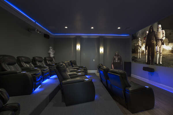 Welcome to your own private home theatre room, with luxury theatre seating for 13 and a ground shaking surround sound entertainment system