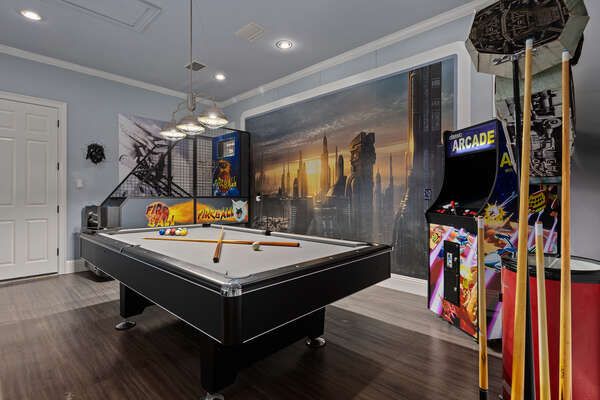 You won't have to worry about the heat because this games room is air conditioned