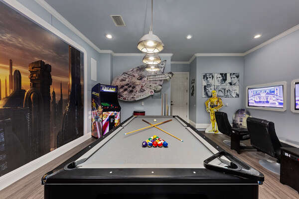 Play a round of pool on the slate pool table