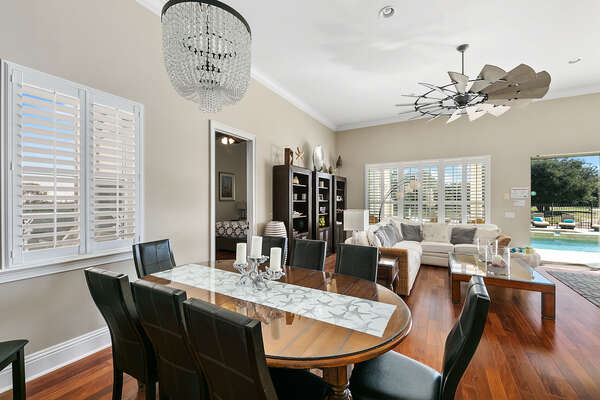Casual dinning room off from the kitchen with views to the pool deck