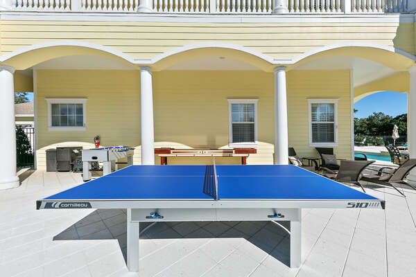 Endless outdoor fun with table tennis, foosball and pool basketball