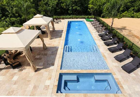 Take a dip in your large pool with a sun shelf