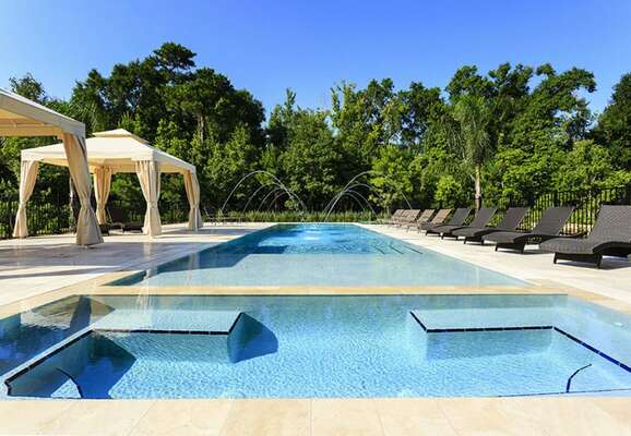 This extensive pool deck will make any vacation