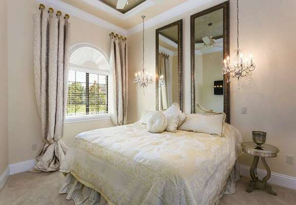 Cozy master bedroom with king bed with ensuite bathroom