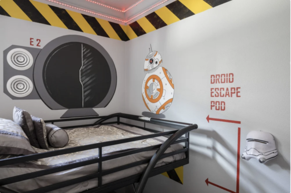 See your favorite space robots throughout the galaxy-inspired bedroom