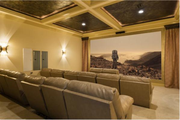 The cinema room comfortably seats 20
