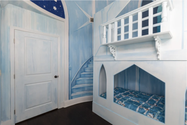 Walk up the stairs to your princess bunkbeds in this Ice Princess-inspired kids bedroom