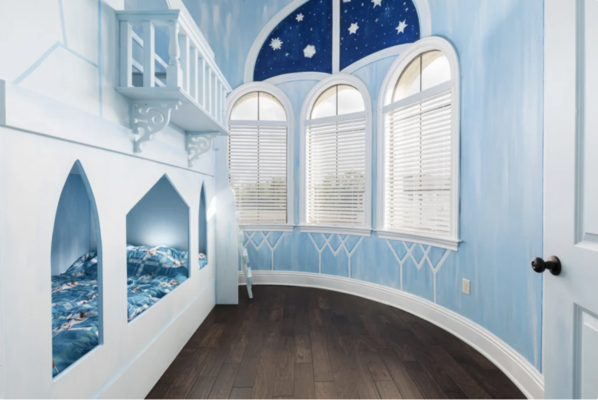 Large windows brighten up the Ice Princess-inspired bedroom