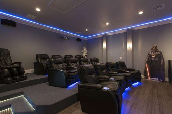 Pop some popcorn and watch all your favorite TV shows and movies in the luxury leather reclined movie theatre seats.