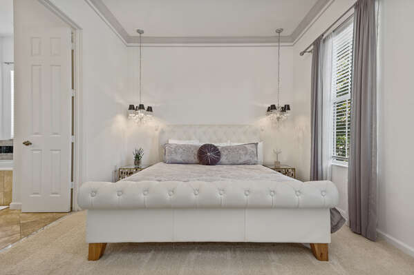 Featuring a plush King bed