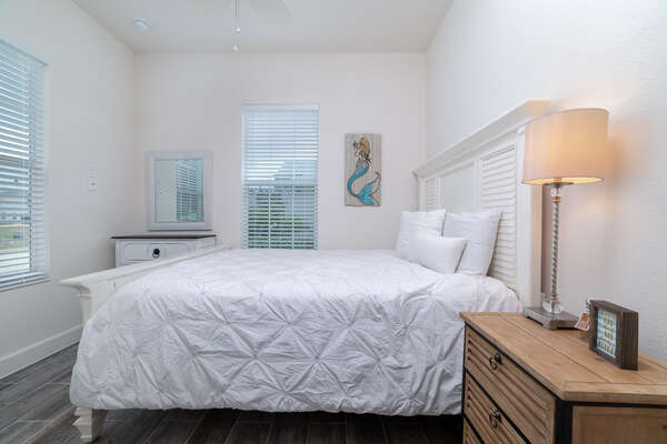 This queen bedroom is located on the first floor