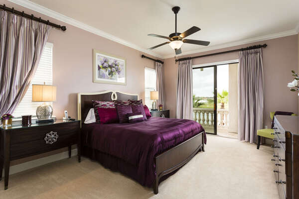The master suite features a King bed and balcony access