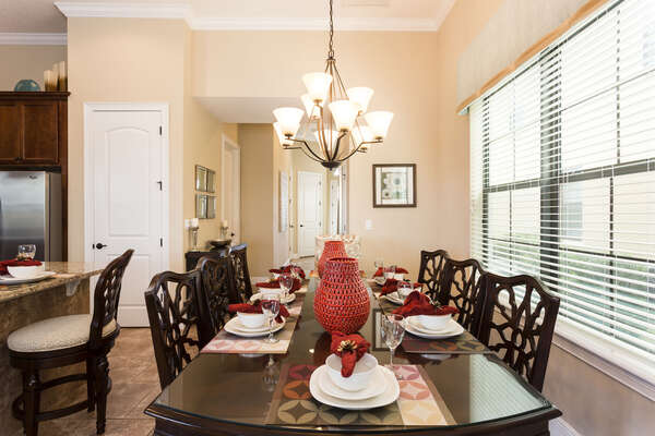 A formal dining area seats 8