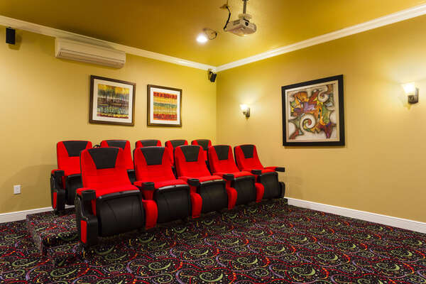 Pop some popcorn and relax in one of the 10 theater seats