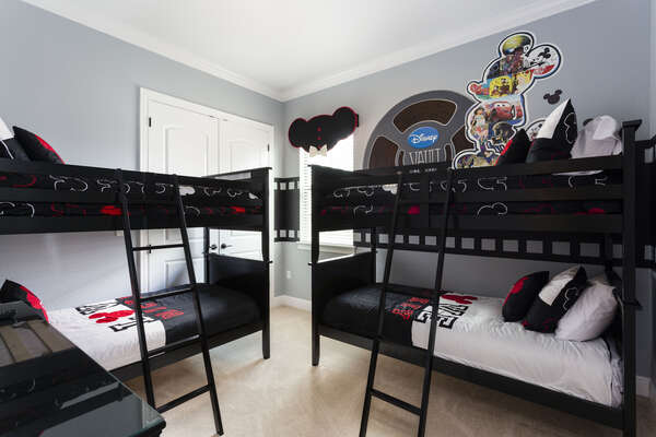 Fun bedroom just for the kids with two twin/twin bunk beds