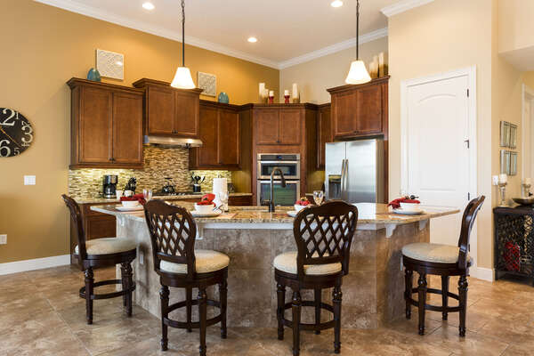 A fully equipped kitchen is ideal for making meals