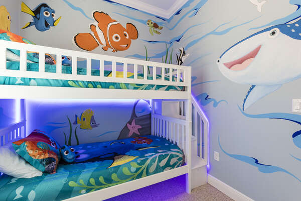 This bedroom features a twin/twin bunk bed