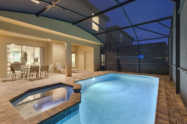 Relax in the spillover spa at the end of a fun-filled day