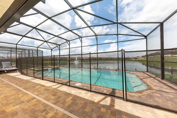 A beautiful lake view in your backyard pool