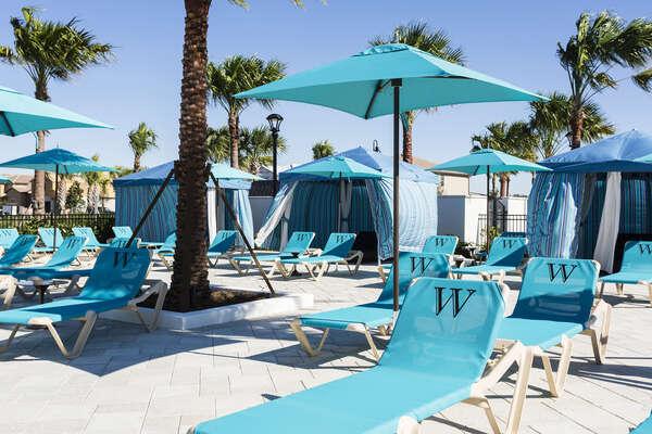 Windsor at Westside resort lounge area and cabanas
