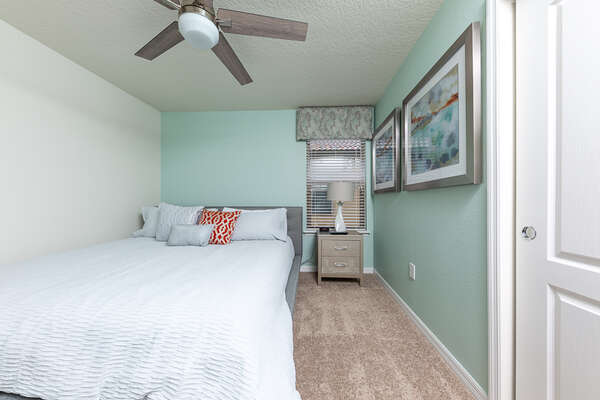 King sized bed with a statement wall color