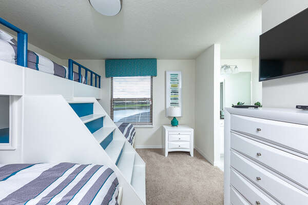 Plenty of storage and a TV for the kid`s room