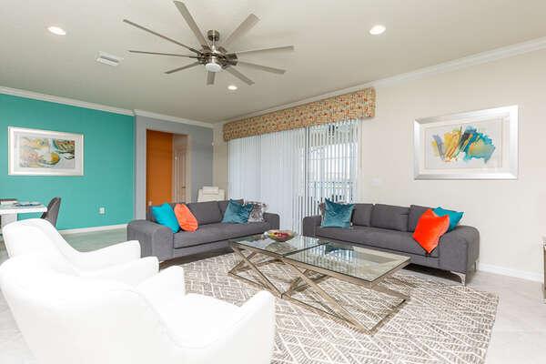 Fun and bright colors add to the home decor