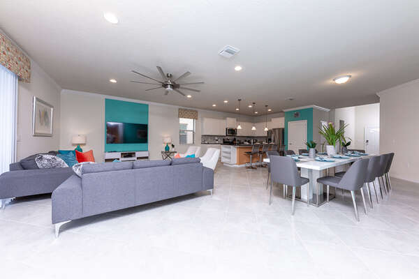 The open layout features modern designs and comfortable furniture