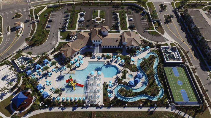 Overhead view of the pool and splash pad