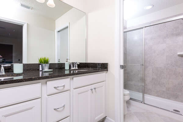 Spacious master bathroom with a walk-in shower