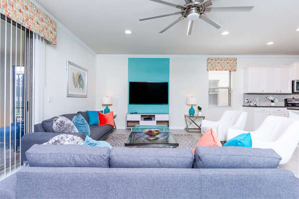 This spacious living area has plenty of room for the whole family