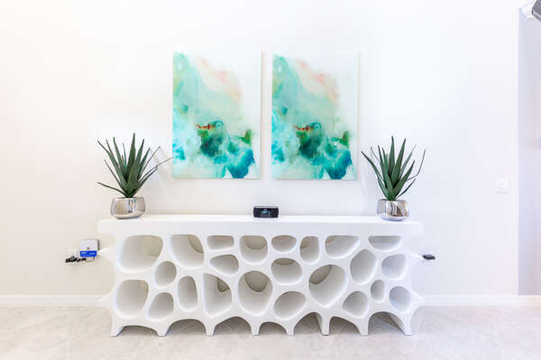 Modern stylish furniture is found throughout the home