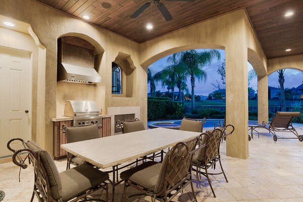 Grill your dinner and dine outdoors underneath the covered lanai with seating for 6