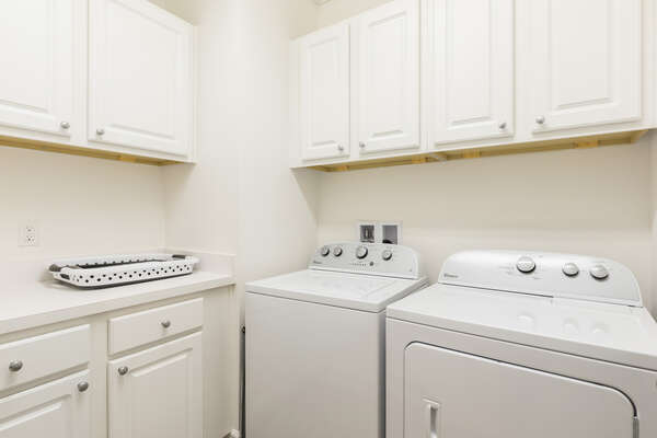 The home comes fully equipped with a washer and dryer for your use