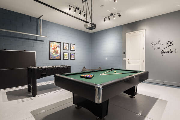 Challenge your family members to a game of pool or foosbal
