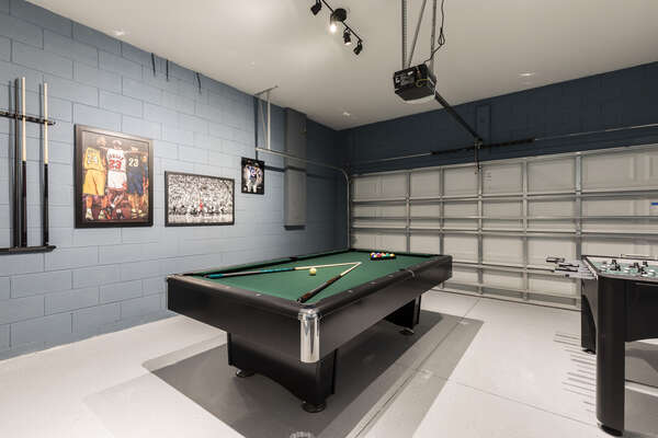 Play all day in the fun garage game room