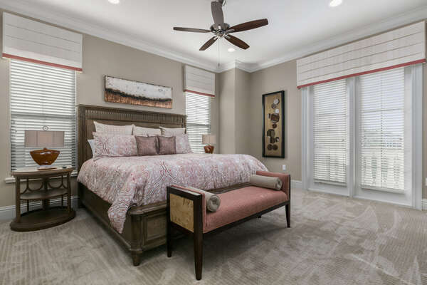 Master Suite #10 features a beautiful King bed and balcony access