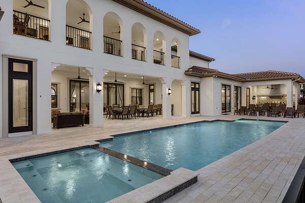 A truly luxurious private pool and patio deck