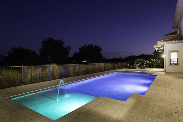 Swim in the private pool, soak your muscles in the spillover spa or enjoy the beautiful fountain features