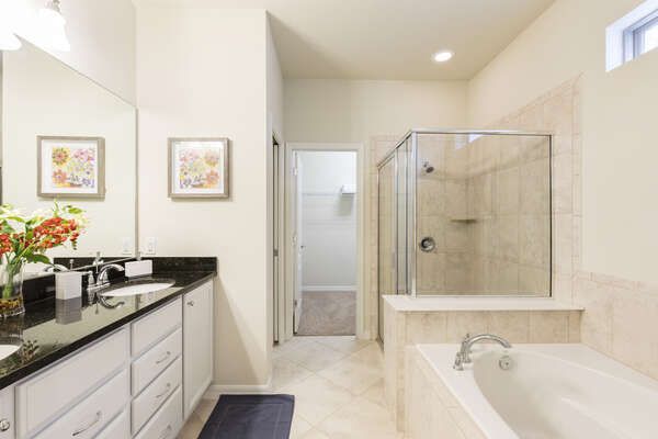 Ensuite master bathroom with walk-in shower and separate bathtub