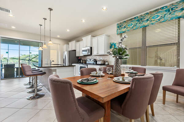 Dining table seats up to 6 guests